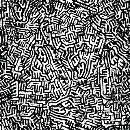 Labyrinth abstract seamless grunge pattern in dark colors