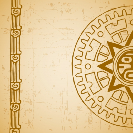 mayan prophecy: Abstract stylized maya sun symbol on beige background
