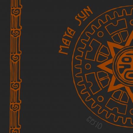 cultura maya: Resumen estilizada símbolo del sol maya en el fondo negro