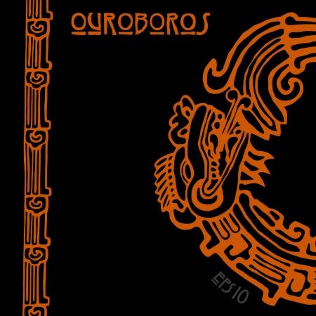 snake year: Ouroboros Quetzalcoatl, la serpiente maya simb�lica ronda, come su propia cola
