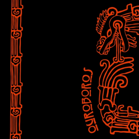 Quetzalcoatl ouroboros, maya symbolic round snake, eating its own tail