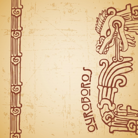 year of snake: Quetzalcoatl ouroboros, maya symbolic round snake, eating its own tail