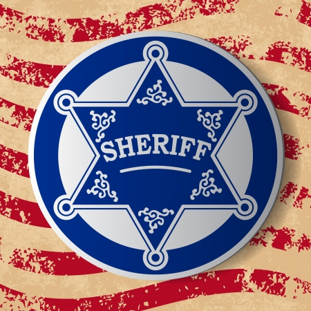 Sheriff stars with decorations on grunge flag background Vector