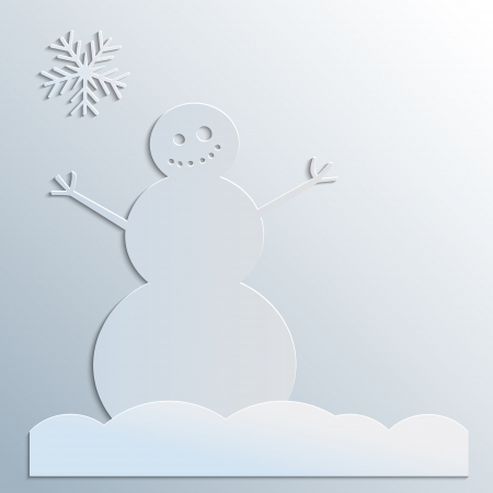 Funny snowman and snowflake on gray
