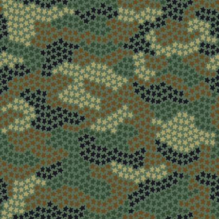 undercover: Seamless camouflage pattern di piccole stelle in colori verde e marrone