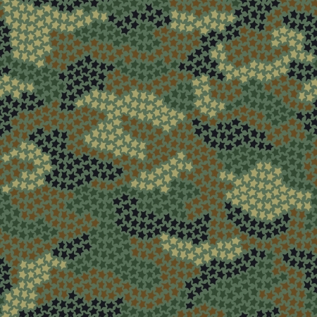 Seamless camouflage pattern made of small stars in green and brown colors