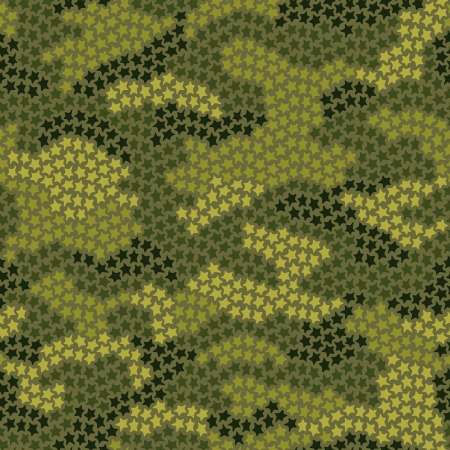 khaki: Seamless camouflage pattern made of small stars in green colors Illustration