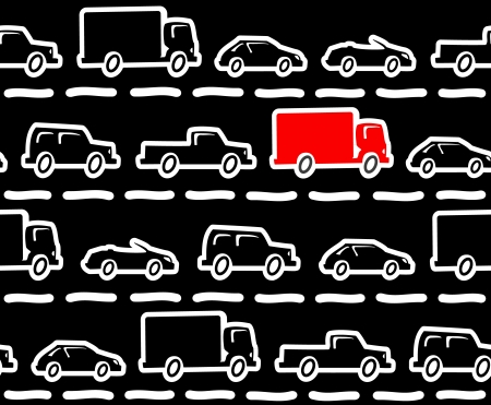 Seamless pattern made of abstract cartoon cars on a road