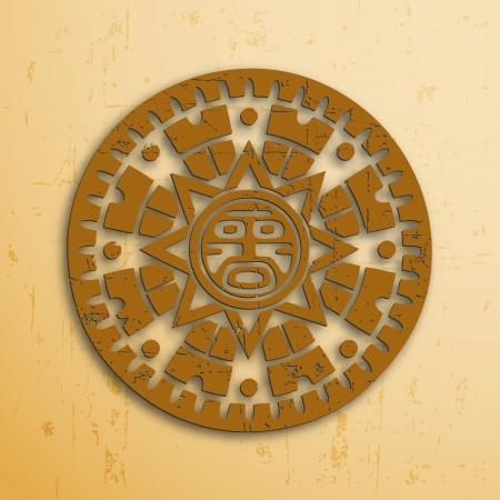 Abstract stone look maya sun symbol Vector