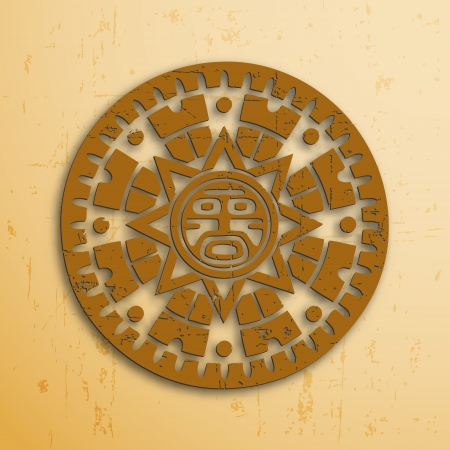 mayan prophecy: Abstract stone look maya sun symbol