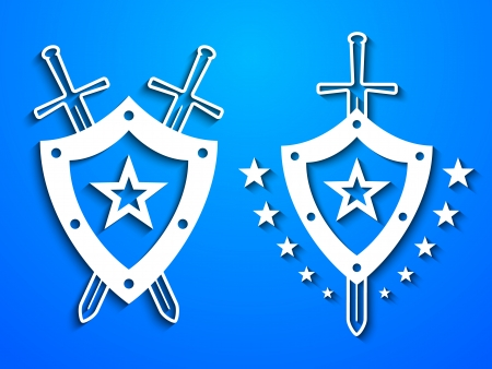 Two white paper look military style emblems with shields and swords