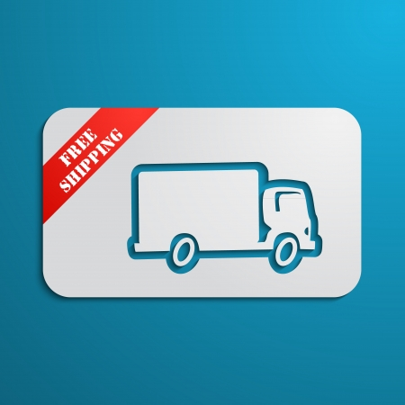 Cartoon paper look card with car (truck) silhouette and red stripe
