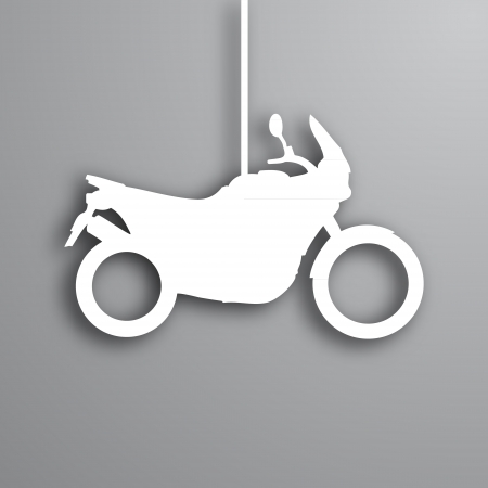 Abstract paper look adventure motorcycle in gray colors Vector