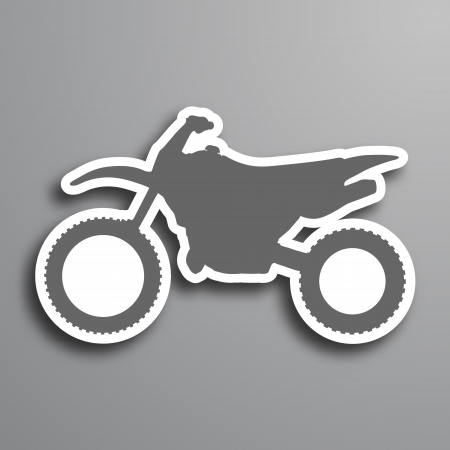 Abstract paper look cross motorcycle in gray colors Vector