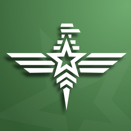 Abstract military white eagle emblem on green background, paper look