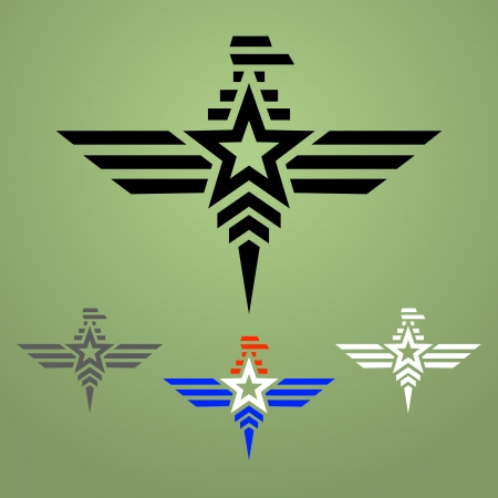 Abstract military eagle emblem set on olive green background