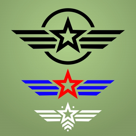 Abstract military star emblem set on green background 일러스트