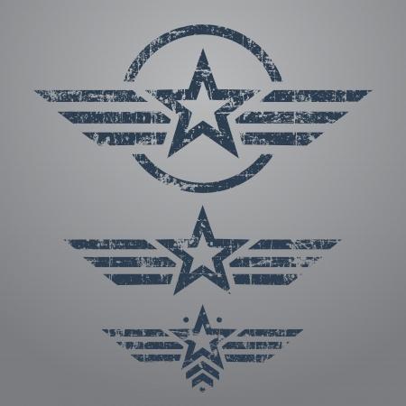 estrellas  de militares: Abstract grunge emblema de la estrella militar situado en el fondo gris