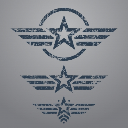 camouflage: Abstract grunge military star emblem set on gray background
