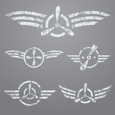 air war: Abstract airforce grunge emblem set on gray background