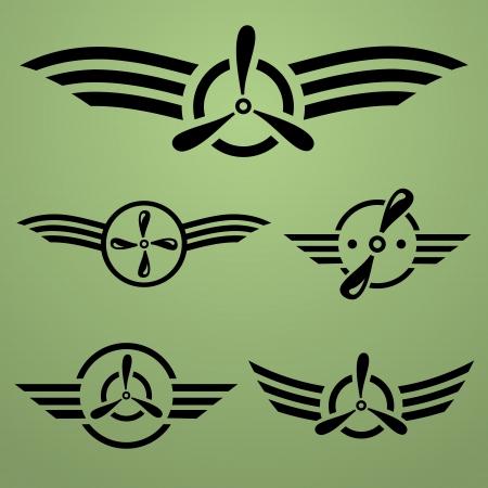 Estratto airforce nero emblema insieme su sfondo verde Vettoriali