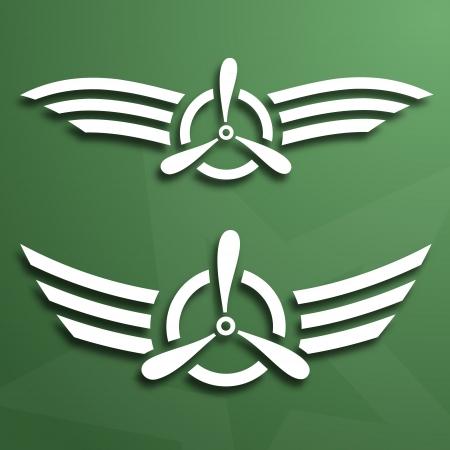 Due airforce astratto emblemi su sfondo verde, carta sguardo