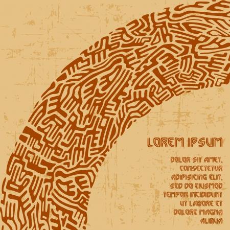 Astratto arco labirinto di forme marrone sulla vecchia carta di sfondo Vettoriali