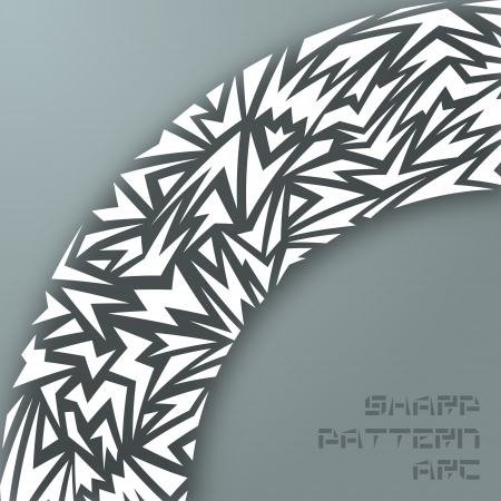 Abstract arc made of white sharp shapes with shadow Vector