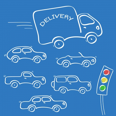 Abstract sketch cartoon cars set with traffic light on blue background