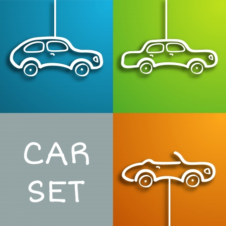 Set of three cartoon paper look cars with shadows