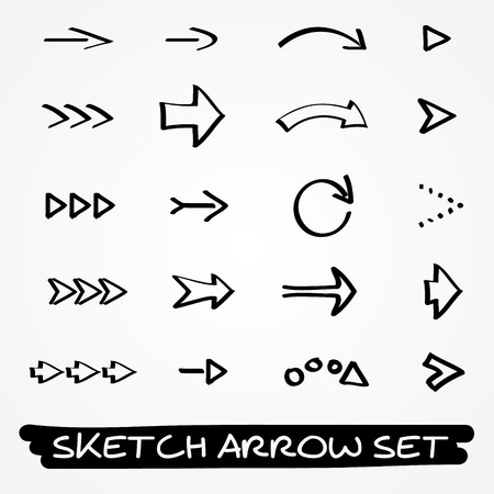 Set di venti mano disegnato frecce schizzo nero