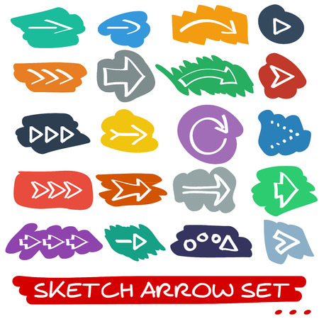 Set of twenty hand drawn sketch arrows with brush-style decorations Vector