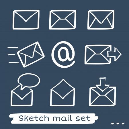 Set di otto mano schizzo disegnato mailing buste bianche