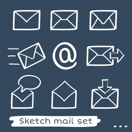 post box: Set of eight sketch hand drawn white mailing envelopes
