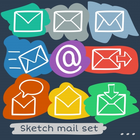 Set of eight sketch hand drawn mailing envelopes in different colors Vector