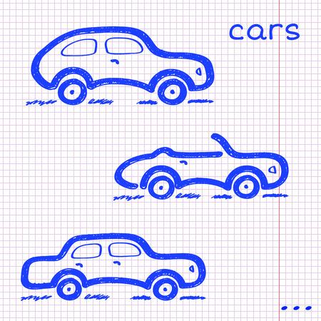 Set di tre vetture disegnate schizzo a mano blu