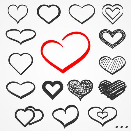sixteen: Set of sixteen abstract sketch hand drawn hearts