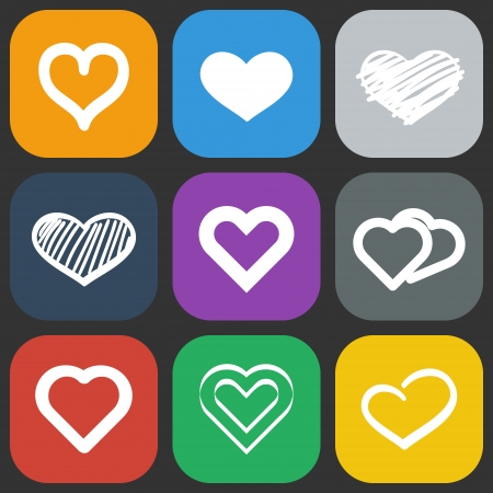 Set of nine abstract colorful icons with hearts Vector