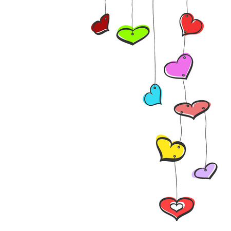 Nine colorful sketch hanging hearts on white background Vector