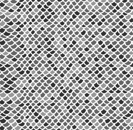 Scale seamless mosaic hand drawn pattern in gray colors Vector