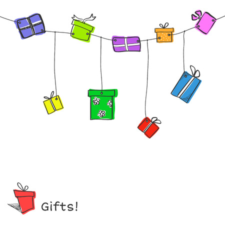 Nine colorful sketch hanging gift boxes on white background