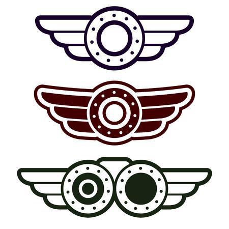 steampunk goggles: Conjunto de tres emblemas del punk vapor abstractas sobre fondo blanco
