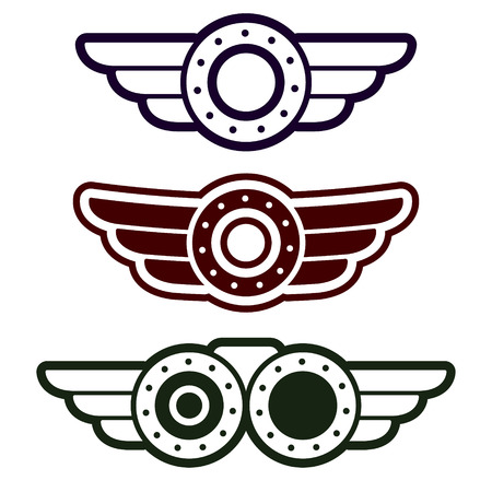 Set of three abstract steam punk emblems on white background