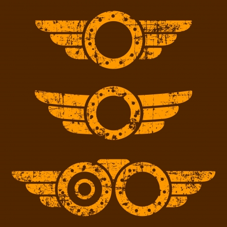 steampunk goggles: Set of three abstract grunge steam punk emblems on brown background Illustration