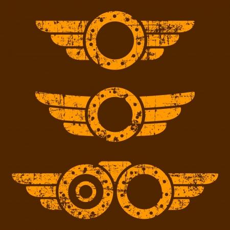 Set of three abstract grunge steam punk emblems on brown background