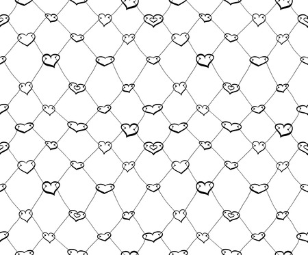 Abstract seamless net pattern made of black sketch hearts