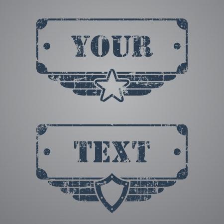 Due tag grunge militari con le caselle di testo su sfondo grigio