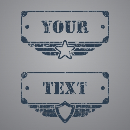 Two military grunge tags with text boxes on gray background Illustration