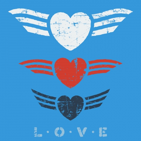 Flat graphic grunge love emblems with hearts and wings Vector