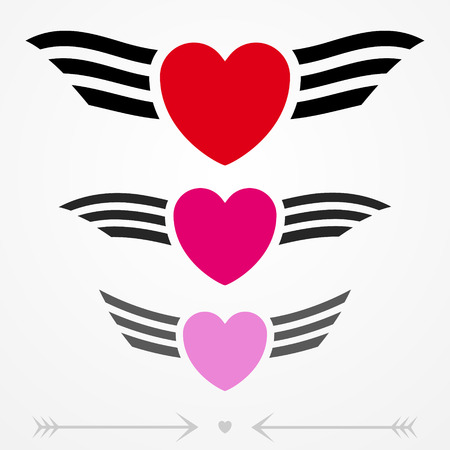 Simple graphic love emblems with hearts and wings Illustration